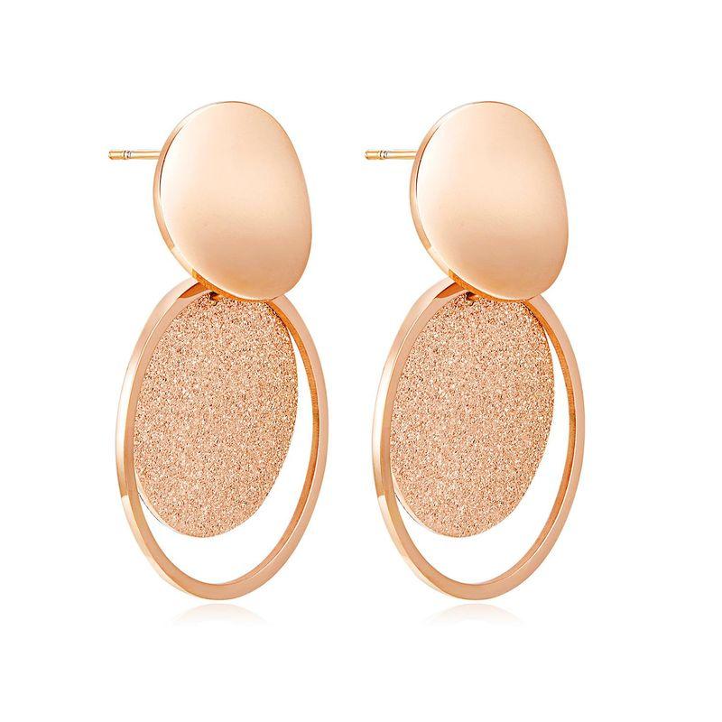 Womens Geometry Electroplated Titanium Steel Earrings NHOP123578