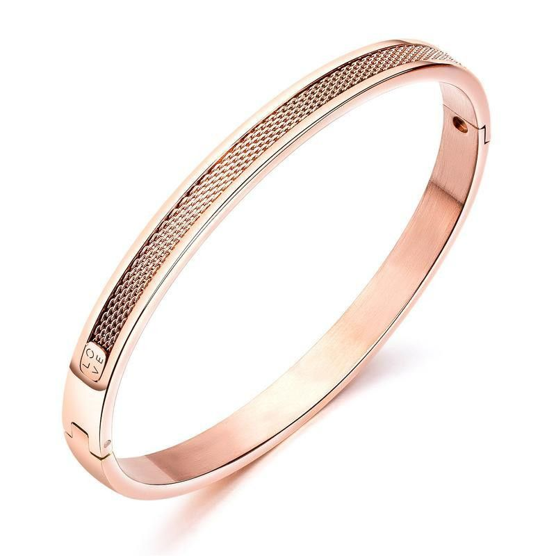 Womens geometrically plated titanium steel Bracelet NHOP123639