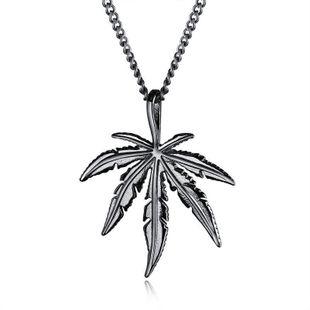 Mens geometric plating Creative tree maple leaf titanium steel NHOP123665's discount tags