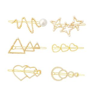Womens geometric Heart shaped serpentine beads plating alloy  Hair clip NHHN123670's discount tags