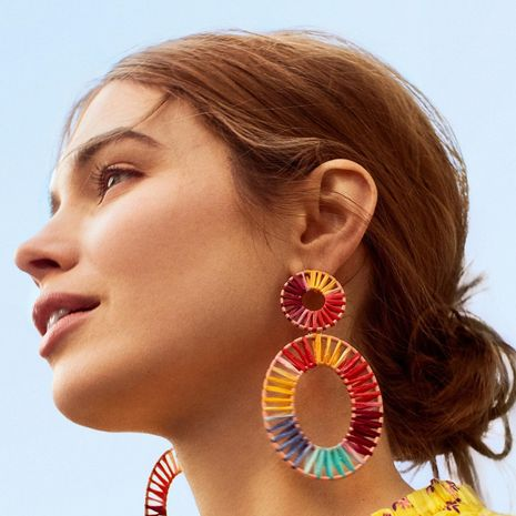 Womens Round Hand-woven double circle Alloy Earrings NHLL123869's discount tags