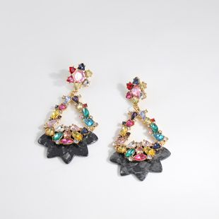 Womens Geometry Electroplating Rhinestone flower Alloy Earrings NHLL123872's discount tags