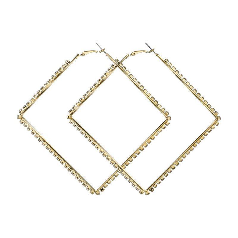 Womens Geometric Rhinestone Alloy Earrings NHBQ123964