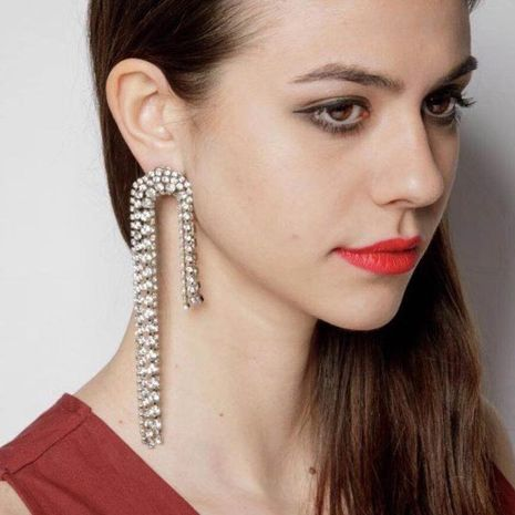 Womens Geometric Studded tassel Acrylic Earrings NHJE124050's discount tags