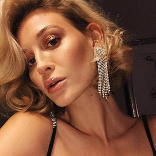 Womens Geometric Long tassel with rhinestones Acrylic Earrings NHJE124054's discount tags