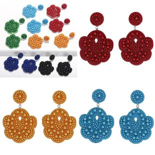 Womens Stylish exaggerated flower Floral Earrings NHJQ124087's discount tags
