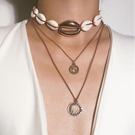 Femmes Alphabet / Chiffres / Texte Coquilles Colliers Alliage Placage Géométrique NHXR124122's discount tags