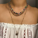 Womens Letter color beaded shell  Geometry  Shell Electroplating Alloy Necklaces NHXR124107