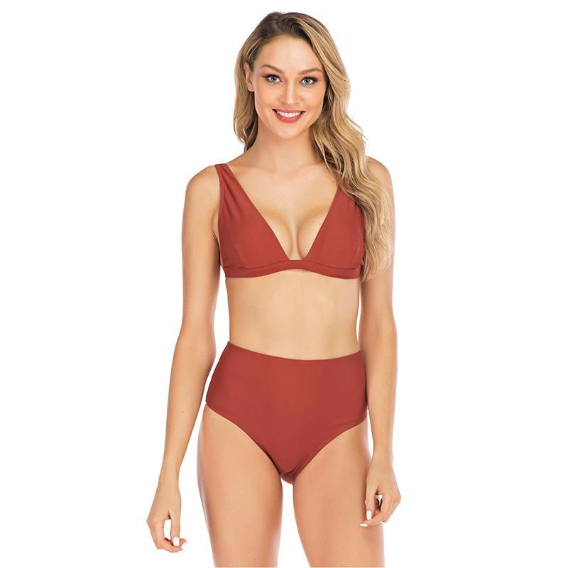 Sexy no steel ring nylon solid color female swimsuit NHDF124124