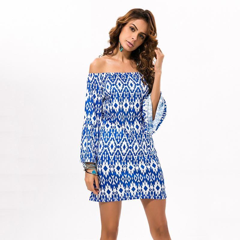 Sexy Wrapped Breast Dress Geometric Print Long Sleeve Skirt NHDF124127