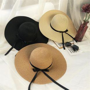 Stylish folding beach holiday vacation straw hat NHXO124176's discount tags