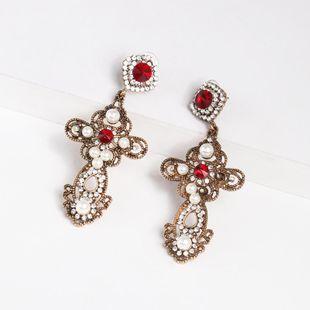 Womens Cross Rhinestone Alloy Earrings NHJJ124307's discount tags