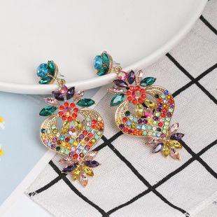 Womens Floral Rhinestone Alloy Earrings NHJJ124309's discount tags