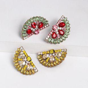 Womens Orange Rhinestone Alloy Earrings NHJJ124310's discount tags