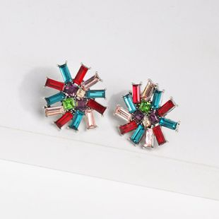 Womens Floral Rhinestone Alloy Earrings NHJJ124311's discount tags