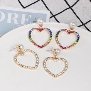 Womens Heart-Shaped Rhinestone Alloy Earrings NHJJ124312's discount tags