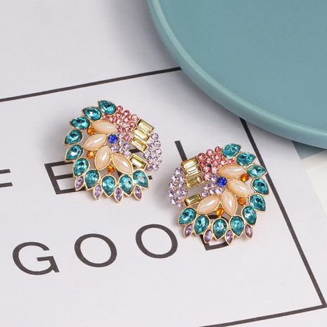 Womens Floral Rhinestone Alloy Earrings NHJJ124313's discount tags