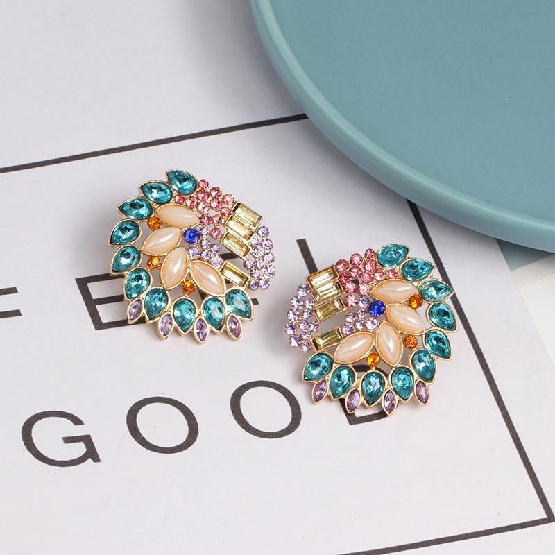 Womens Floral Rhinestone Alloy Earrings NHJJ124313