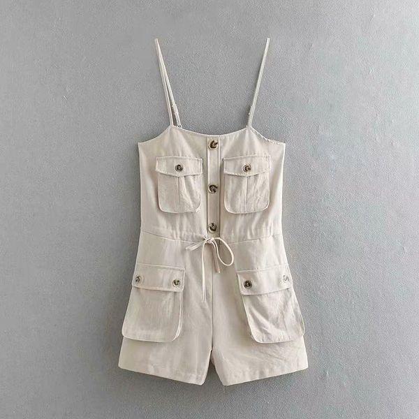 Workwear off-the-shoulder single-breasted pocket sling jumpsuit NHAM124328