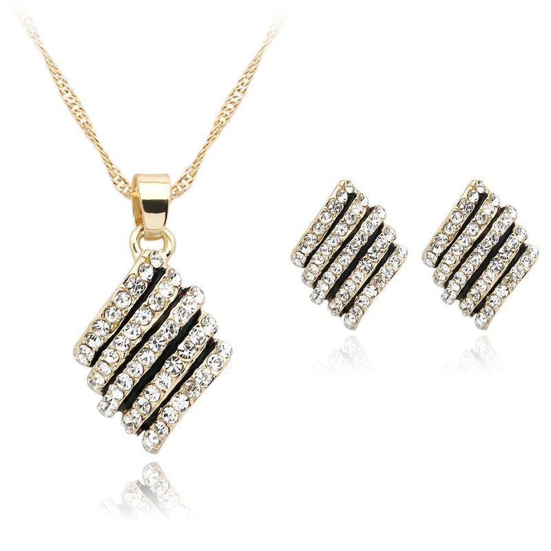Womens Rhinestone Alloy Jewelry Sets NHDR124829