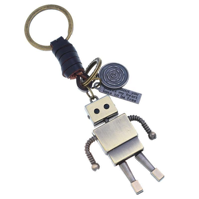 Unisex robotic zinc alloy Braided leather keychain NHPK124845