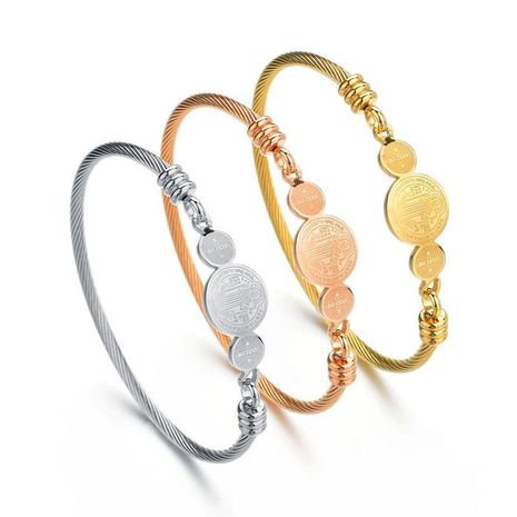 Unisex Geometric Stainless Steel Bracelets & Bangles NHHF124852's discount tags