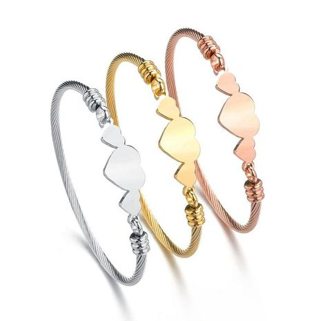 Unisex Heart Shaped Stainless Steel Bracelets & Bangles NHHF124856's discount tags