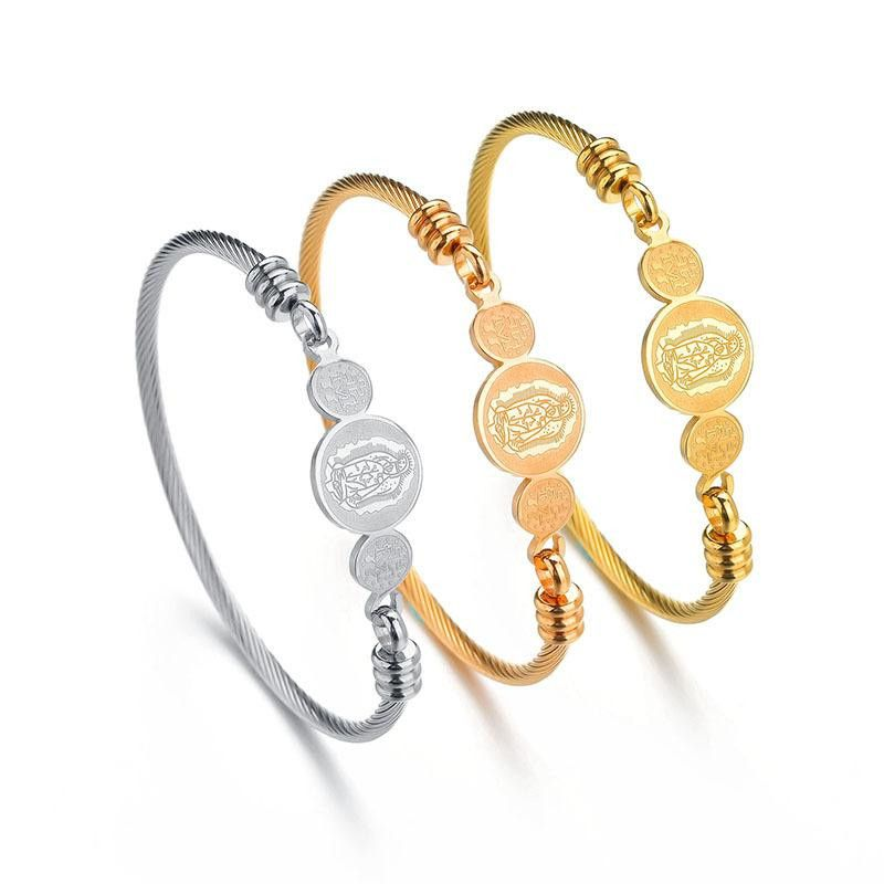 Unisex Geometric Stainless Steel Bracelets & Bangles NHHF124858
