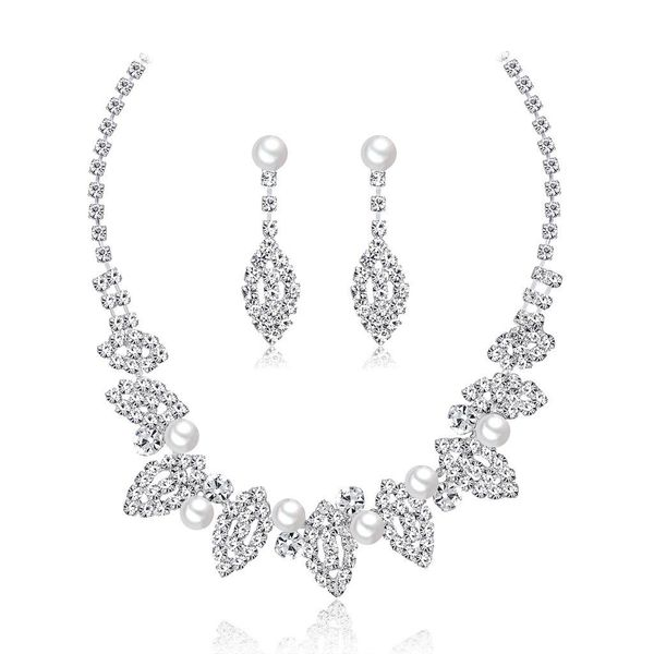 Womens Electroplated Copper Rhinestone Jewelry Sets NHDR124860