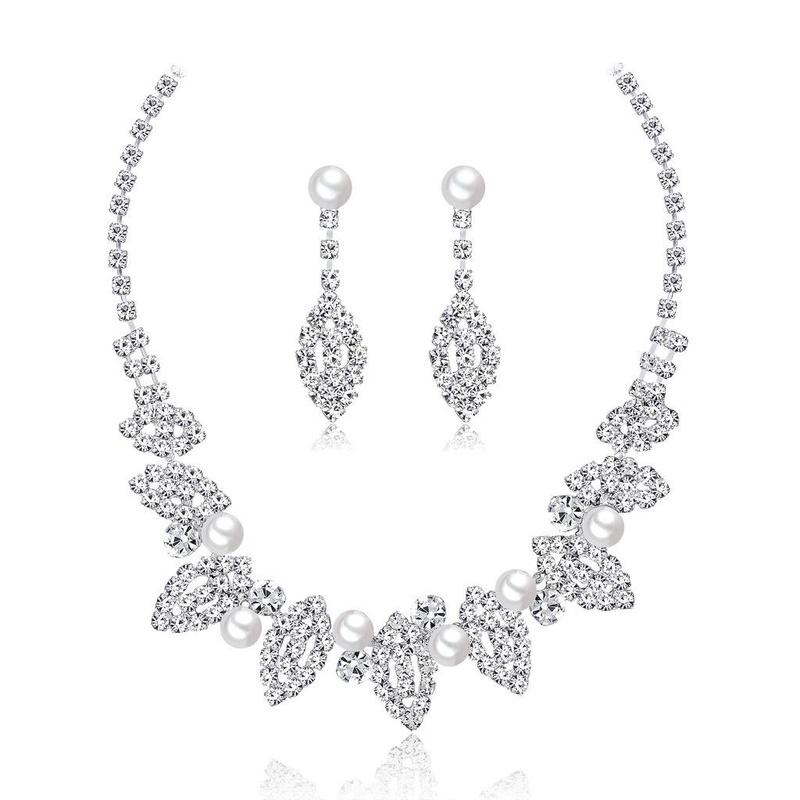 Womens Electroplated Copper Rhinestone Jewelry Sets NHDR124860