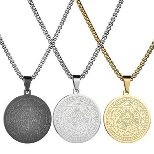 Vintage round six-pointed star scripture Electroplated Stainless Steel Necklaces NHHF124889's discount tags