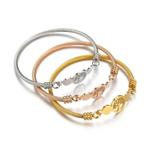 Wild hollowed out life tree Floral Stainless Steel Bracelets & Bangles NHHF124895's discount tags