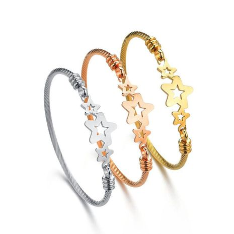 Womens Star Stainless Steel Bracelets & Bangles NHHF124901's discount tags