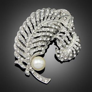 Womens leaf plating alloy Brooches NHDR124906's discount tags