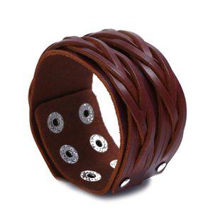 Simple multi-layer weave Unisex geometric leather Bracelets & Bangles NHPK124908's discount tags
