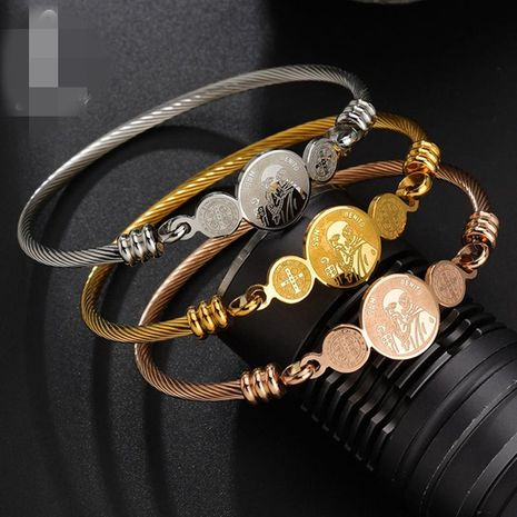 Unisex cartoon character stainless steel Bracelets & Bangles NHHF124916's discount tags