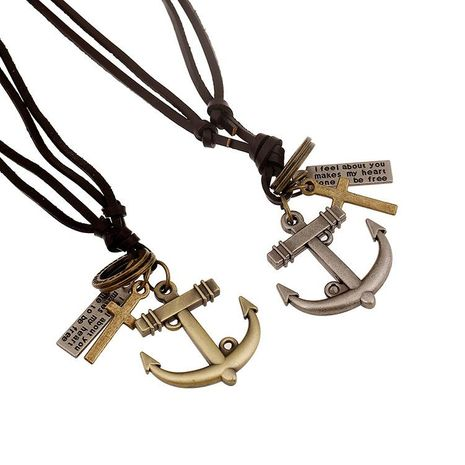 Unisex anchor plating alloy Necklaces NHPK124943's discount tags
