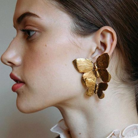 Womens Butterfly Plating Alloy Earrings NHJE124969's discount tags