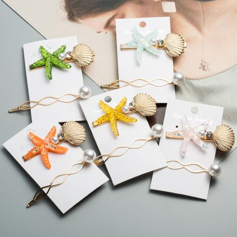 Womens Starfish Inlaid Beads Hair Accessories NHJE124976's discount tags