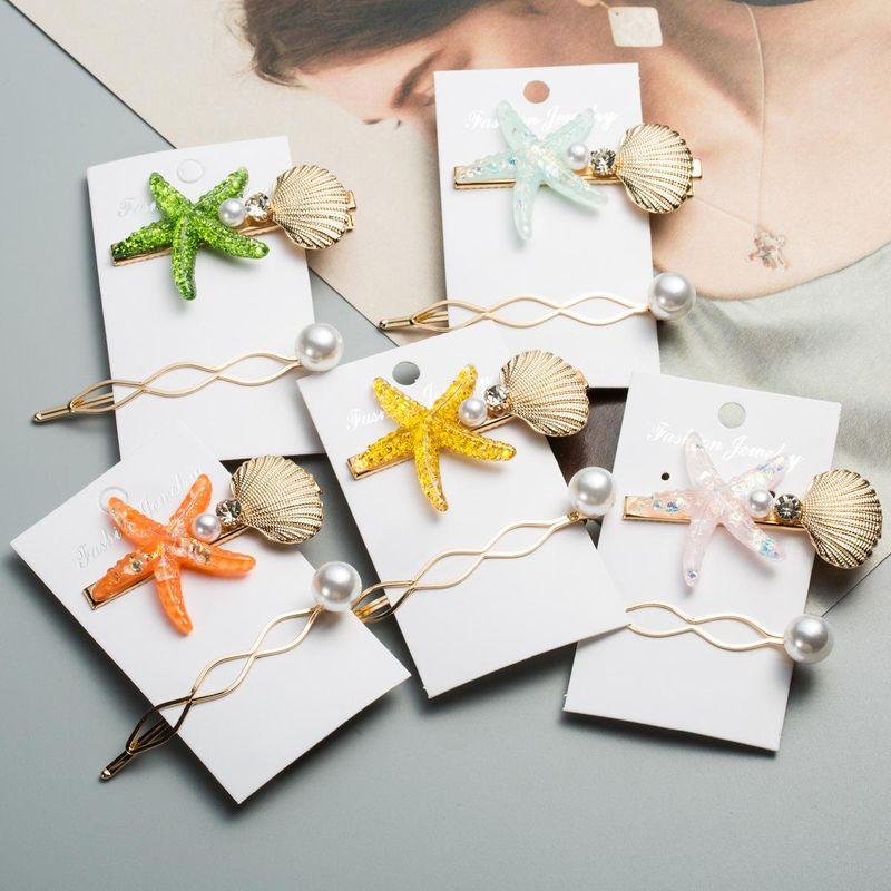 Womens Starfish Inlaid Beads Hair Accessories NHJE124976