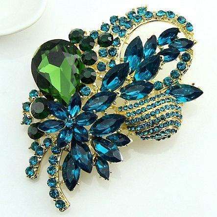 Aleación de la hoja de la mujer de la aleación de la moda gemas salvajes Danrun broches de joyería DR190505120157's discount tags
