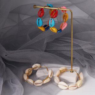 Womens Geometric Shell Alloy Earrings JJ190505120231's discount tags
