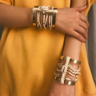 Womens Shell Metal Simple winding national wind multi-layer  Bracelets & Bangles XR190506120358's discount tags