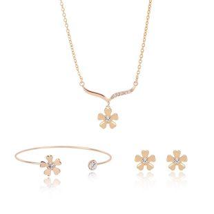 Womens rhinestone-studded alloy Rhinestone flower jewelry set XS190506120386's discount tags
