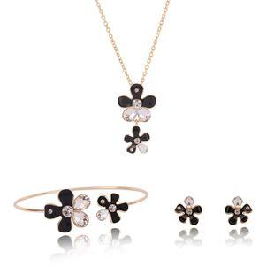 Womens rhinestone alloy Flower Rhinestone Jewelry Set XS190506120388's discount tags