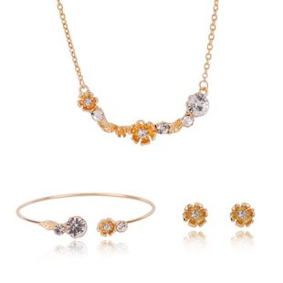 Womens rhinestone alloy  wedding Jewelry Set XS190506120390's discount tags