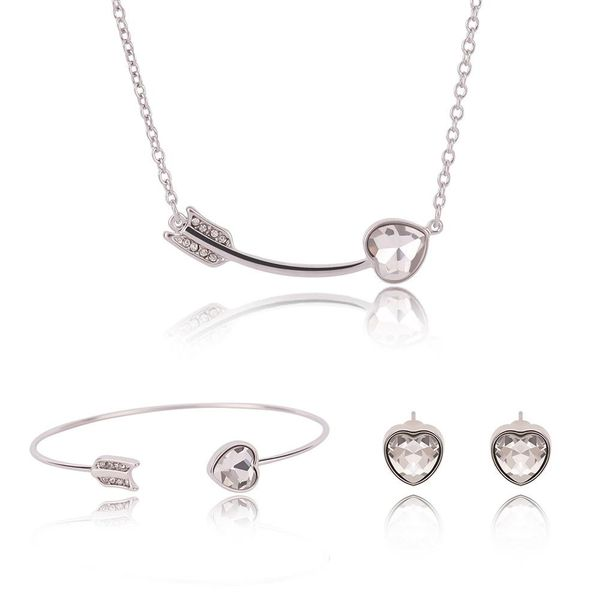 Womens rhinestone alloy Cupid s Arrow Love Shape Jewelry Set  XS190506120391