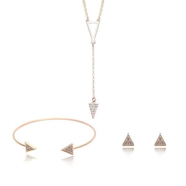 Womens rhinestone Alloy Code Fashion Atmosphere Triangle Jewelry Set XS190506120394