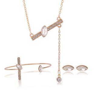 Womens rhinestone alloy Line art series jewelry set XS190506120396's discount tags