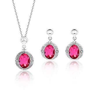Womens rhinestone alloy Rhinestone Ruby Jewelry Set XS190506120401's discount tags